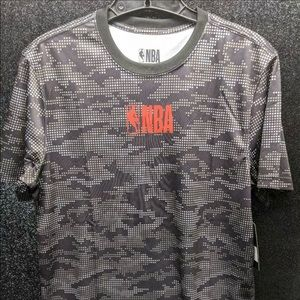 NBA Mens Official Logo Gray Black Short-Sleeve Top